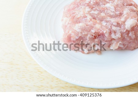 Minced pork on dish for cook