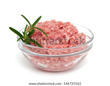 minced turkey meat in a bowl - stock photo