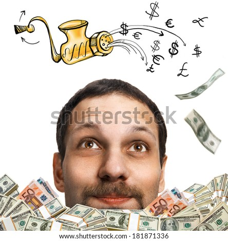 Mincer with minced currency symbols / head of a happy man with a mustache, surrounded by flying dollar bills - isolated on white background  - stock photo
