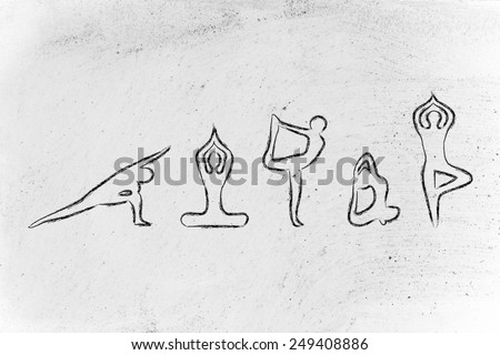 mind body and soul design inspired by yoga, with asanas (yoga poses) - stock photo