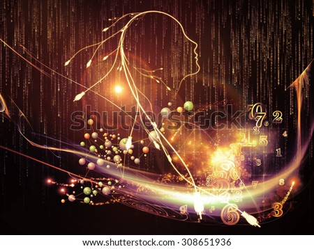 Mind Connection series. Composition of human profile, connections and numbers suitable as a backdrop for the projects on information technology, internet and artificial intelligence - stock photo