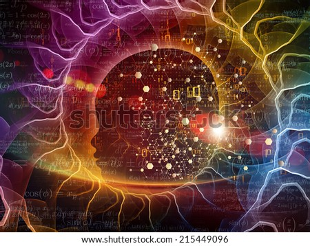 Mind Geometry series. Abstract composition of Human profile, math and design elements suitable as element in projects related to reason, science, technology and education