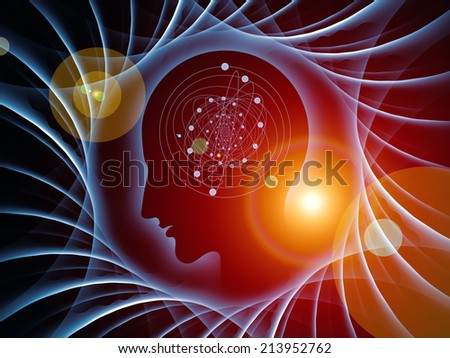 Mind Geometry series. Background composition of  Human profile, math and design elements to complement your layouts on the subject of reason, science, technology and education