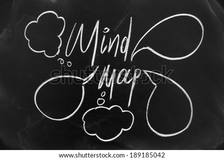 Mind map concept on blackboard with white chalk - stock photo