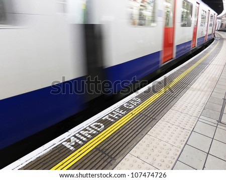 Mind the gap, warning in the London underground - stock photo