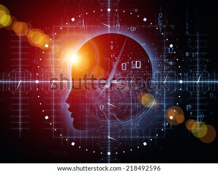 Mind Time series. Graphic composition of Human profile, clock and design elements to serve as complimentary design for subject of reason, science, technology and education - stock photo