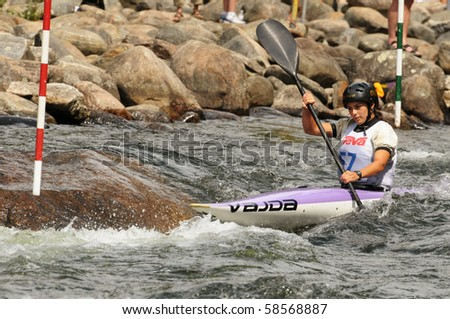 MINDEN - AUGUST 1: An unidentified contestant competes at Canadian Whitewater Slalom National Championship on Aug 1, 2010 at Gull River in Minden, Ontario, the venue for 2015 Pan Am canoe/kayak slalom