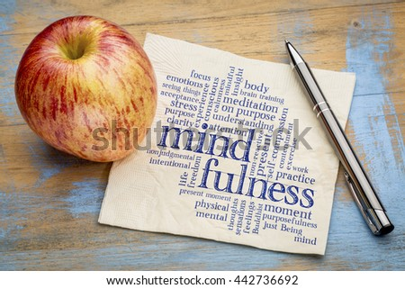 mindfulness word cloud on a napkin with a fresh apple