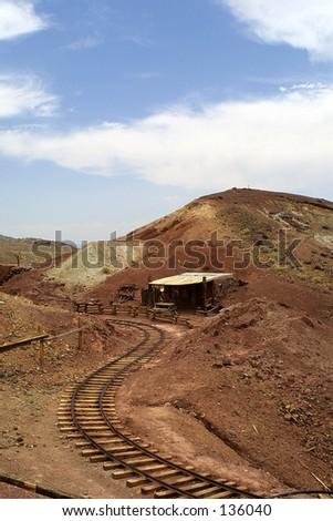 Mine Train Tracks - stock photo