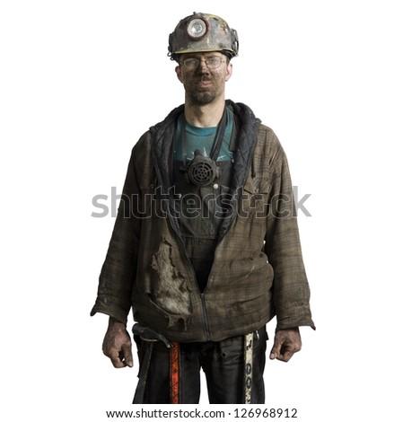 Mine worker with flashlight helmet - stock photo