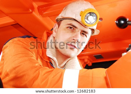 Miner at his workplace portrait