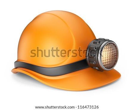 Miner helmet with lamp. 3D Icon isolated on white background - stock photo