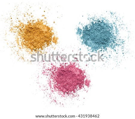 Mineral cosmetics set isolated on white background. Blusher face powder and eye shadow mineral make up. Crushed blushes set in trendy bright colors. Blush eye shadow and blusher powder isolated.  - stock photo
