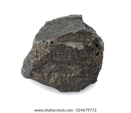 Mineral  iron ore isolated on white. Iron ores are rocks and minerals from which metallic iron can be economically extracted. The ores are usually rich in iron oxides and vary in color. - stock photo
