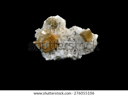 mineral Pyrite  on Apophyllite