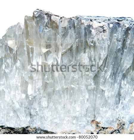 mineral quartz on a white background - stock photo