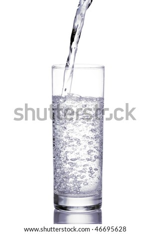 Mineral water being poured into a glass.