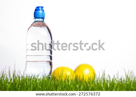 Mineral water bottle and lemon - stock photo