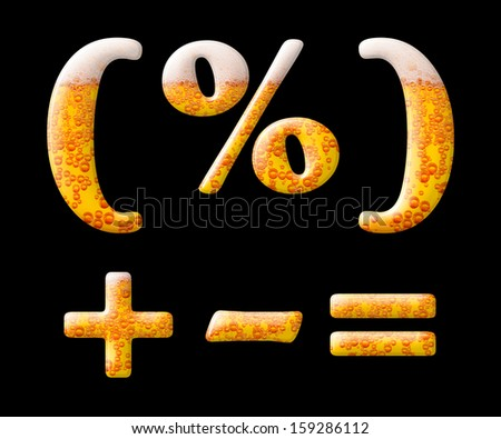 Mineral water letter set characters on black - mathematical symbols - stock photo