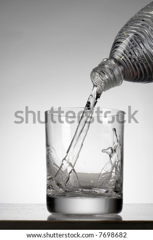 Mineral water on a white background