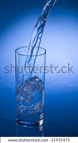 Mineral water stream pouring into a clean transparent glass.