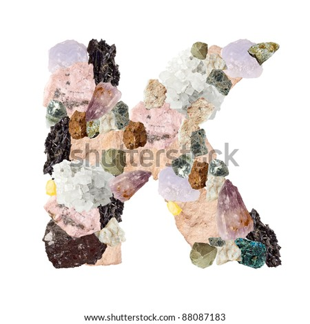 Minerales alphabet isolated on white background Letter K - stock photo