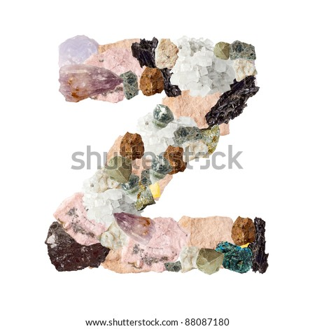 Minerales alphabet isolated on white background Letter Z - stock photo