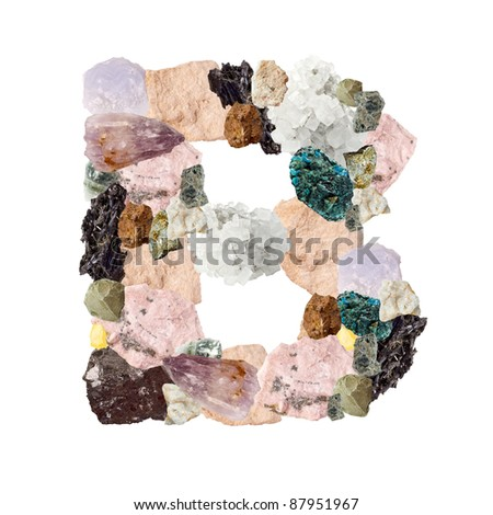 Minerals alphabet isolated on white background Letter B - stock photo
