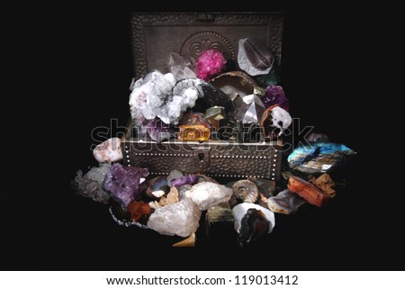 minerals and gems in the steel box - stock photo