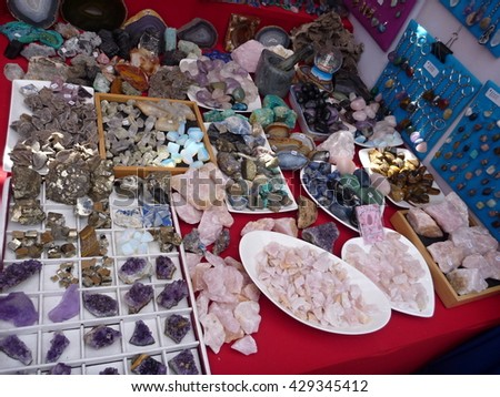 minerals and precious stones sold at a market - stock photo