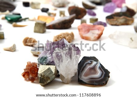 minerals (gemstones) isolated on the white background - stock photo