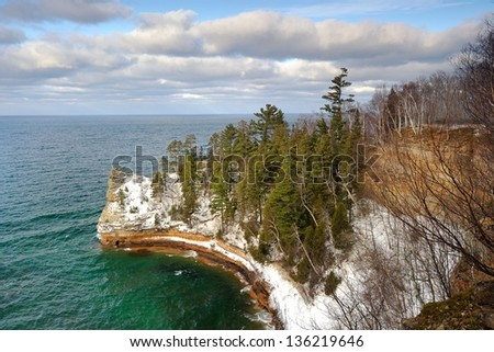 Miners Castle winter at Lake Superior Pictured Rocks National lakeshore, Michigan USA - stock photo