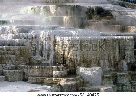 Minerva Terrace at Mammoth Hot Springs in Yellowstone National Park, Wyoming - stock photo