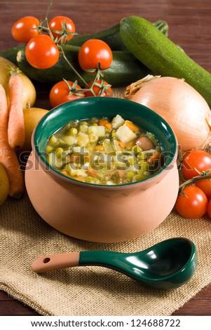 Minestrone - Italian vegetable soup - stock photo