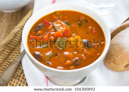 Minestrone soup [Bean,Zucchini soup] - stock photo