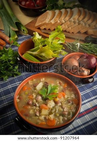 Minestrone - soup with vegetables