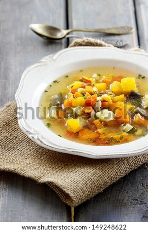 Minestrone, vegetable soup - stock photo
