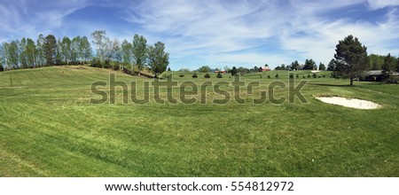 Mingo Springs golf club practice area in Rangeley, Maine USA