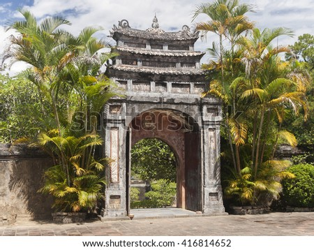 Minh Mang Imperial Tomb gate in Hue, Vietnam - stock photo