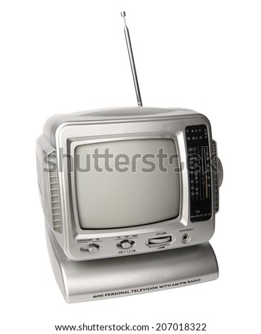 Mini analog television with FM/AM radio isolated over white background, clipping path. - stock photo