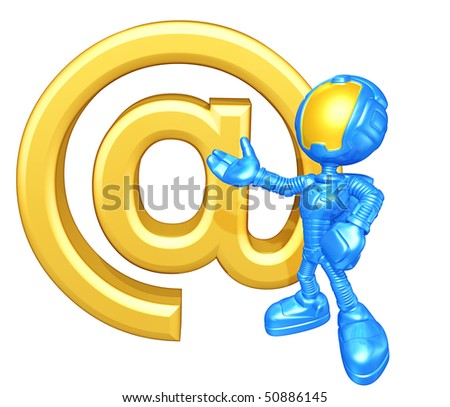 Mini Astronaut With Email - stock photo