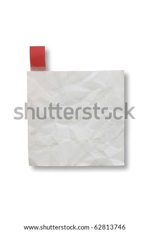 Mini blank page white paper and tag for note something and attach at a door - stock photo