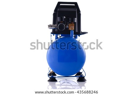 Mini blue compressor front view isolated on white background - stock photo