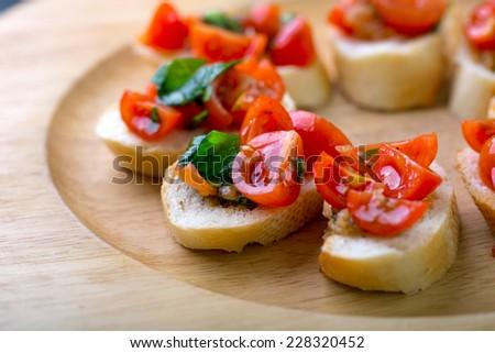 mini bruschetta canapes - stock photo