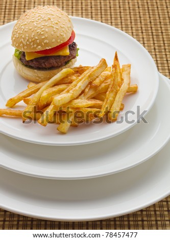Mini burger with french fries. - stock photo