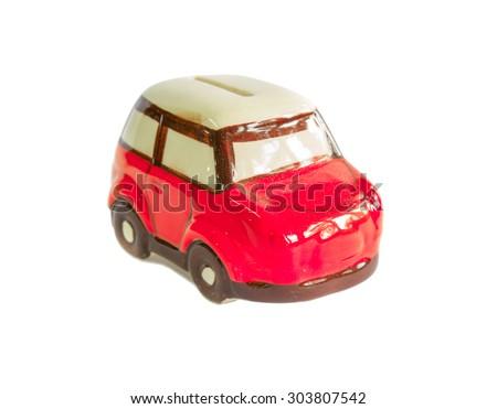 mini car piggy bank isolated on white background - stock photo