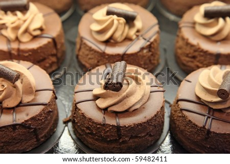 Mini chocolate cakes - stock photo