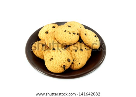 Mini Chocolate chips cookies isolated on white - stock photo