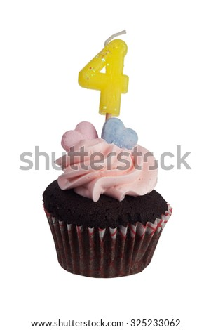 Mini cupcake with number four candle for four year anniversary isolated on white background  - stock photo