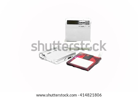 Mini Disc and player isolated on white background - stock photo